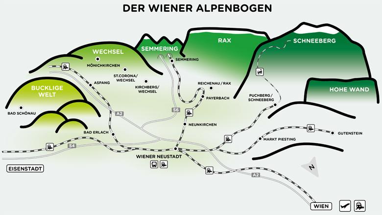 Auf Straße und Schiene in die Wiener Alpen